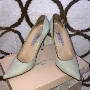 Jimmy Choo suede-key lime stilettos